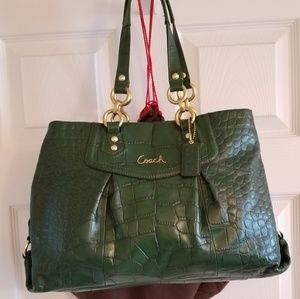 Coach Ashley Embossed Green Croc Leather Carryall